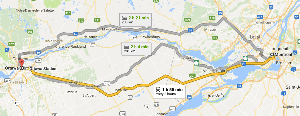 Map of Montreal to Ottawa on Google Maps