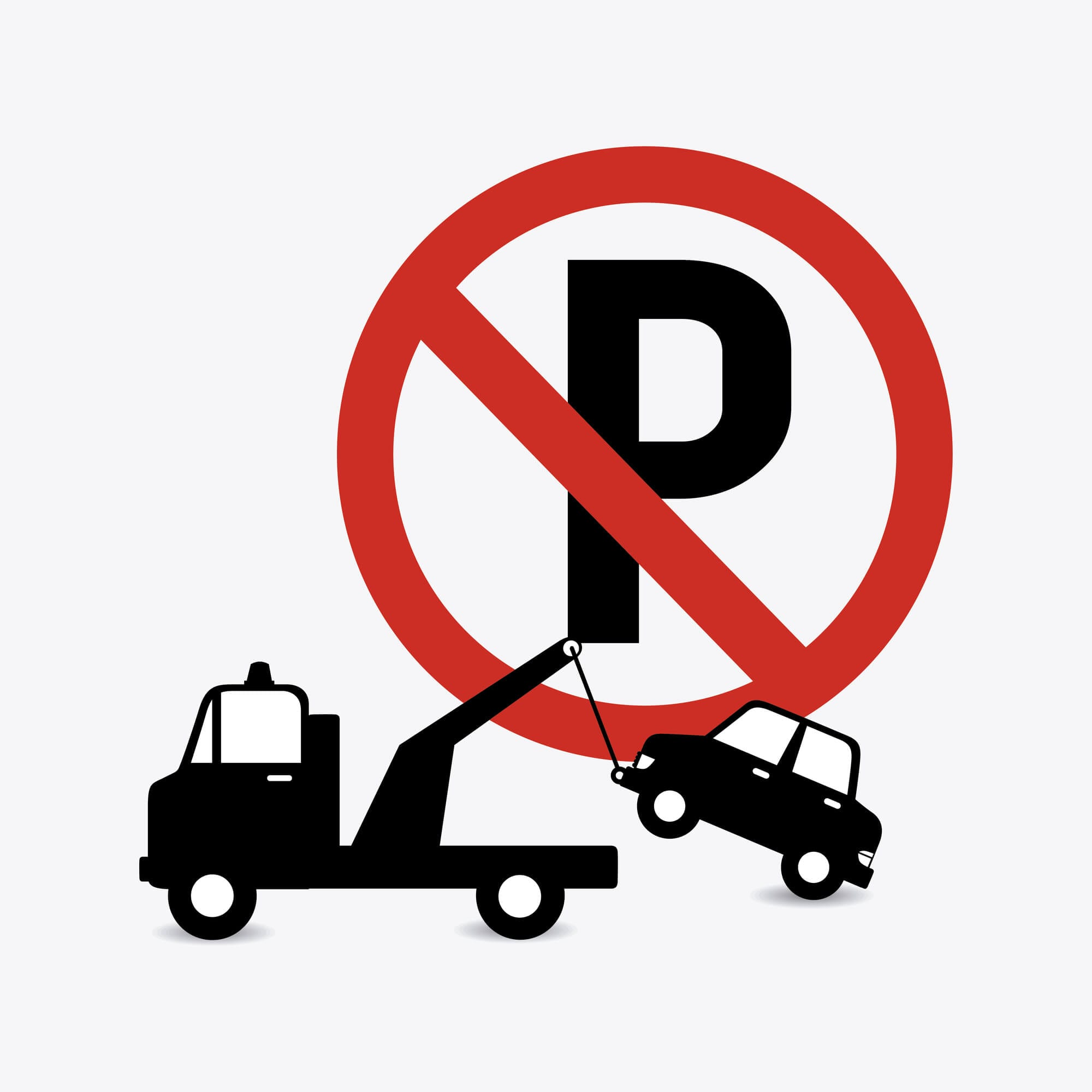No towing in parking garage sign
