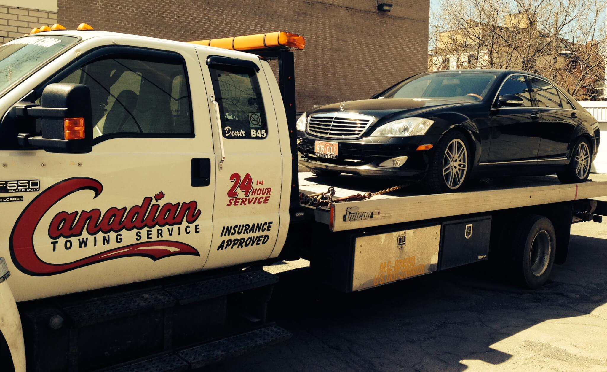 Mercedez being towed by Canadian Towing in Ottawa